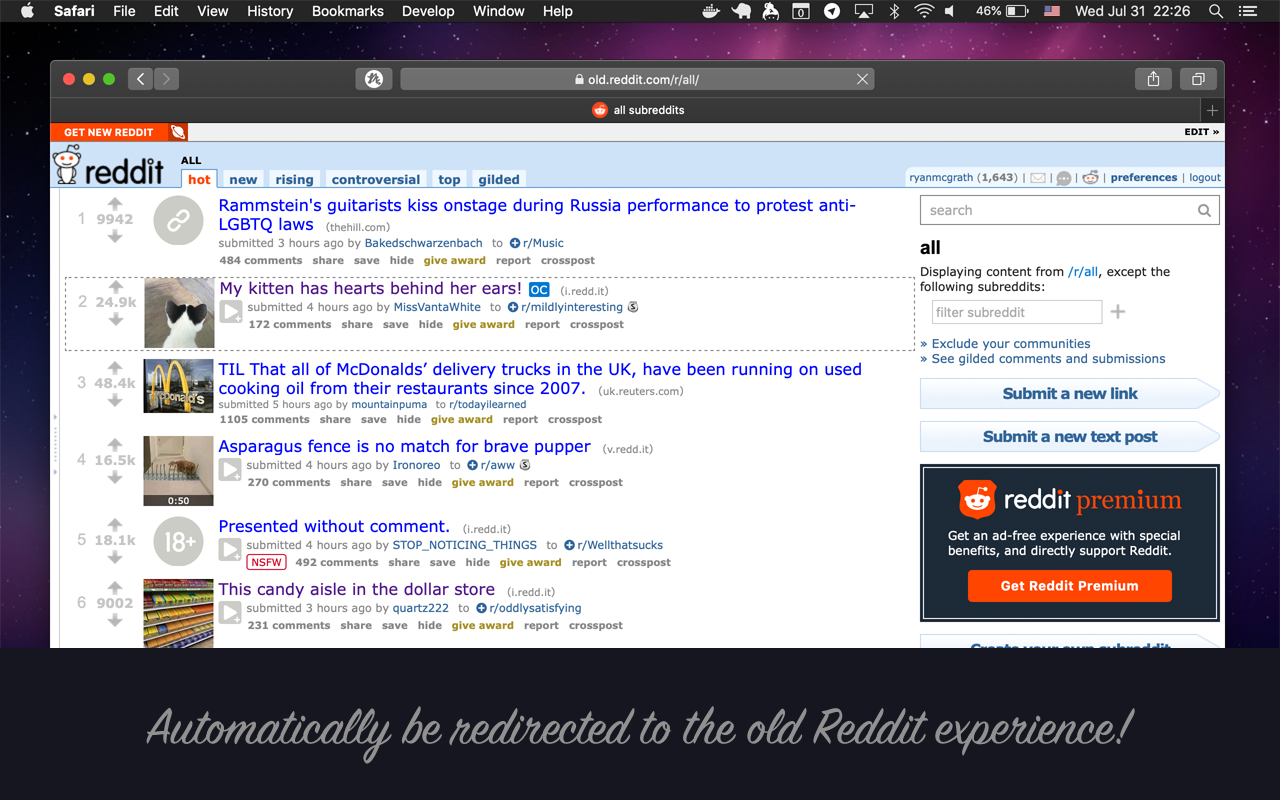 Automatically redirect to the old Reddit!